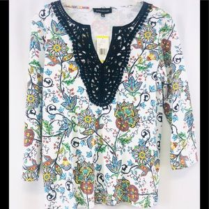 Jones NY white multicolor floral soft stretch top